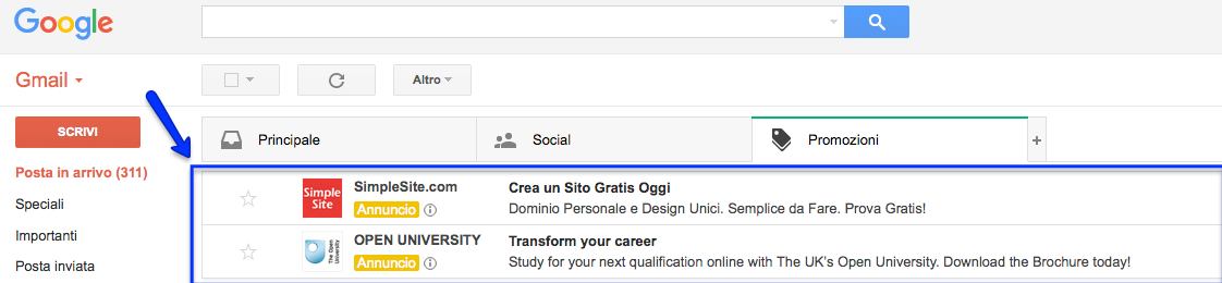 annunci adwords in gmail