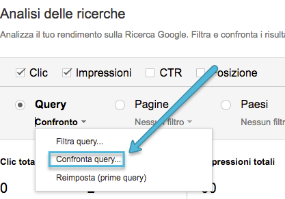menu confronta search console